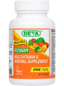 Deva Nutrition, VEGAN 1-A-DAY MULTI (IRON FREE) 90 TABS